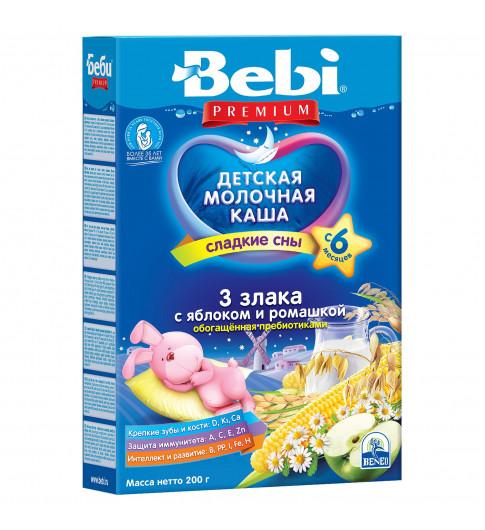 Bebi Premium Каша «Для сладких снов» «3 злака, яблоко и ромашка, молочная, 6мес+, 200г