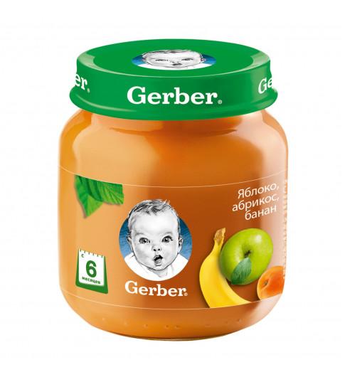 Gerber пюре яблоко, абрикос, банан, 6мес+, 130гр Гербер