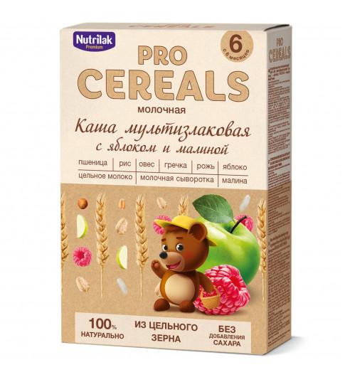 Nutrilak Premium Мультизлаковая с яблоком и малиной с молоком, Цельнозерновая, 6мес+, 200 гр БЕЗ САХАРА