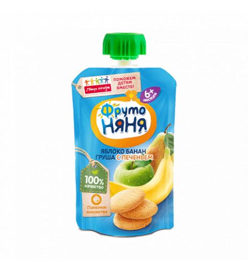 ФрутоНяня Пюре Яблоко-банан-груша-печенье, 6мес+, 90 гр