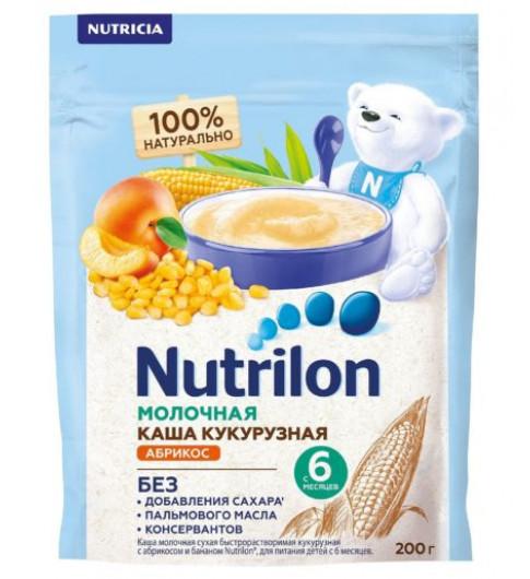 Nutrilon Каша молочная Кукурузная Абрикос Банан, без сахара, 200 гр