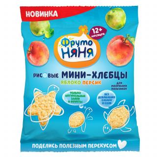 ФрутоНяня Мини Хлебцы Рисовые Яблоко Персик, 12мес+, 30 г