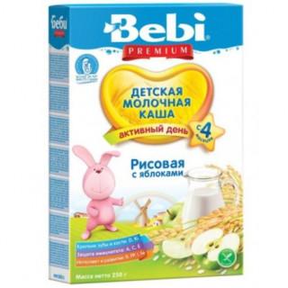 Bebi Premium Каша рисовая с яблоком, молочная, 4мес+, 200гр