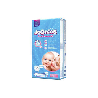 Joonies PremiumSoft Подгузники L 9-14 кг, 42 шт Джунис