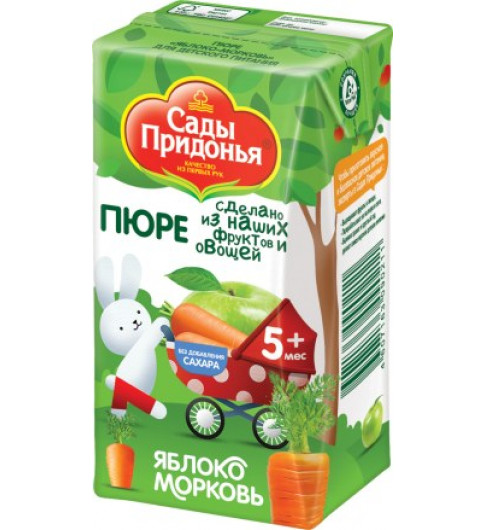 Сады Придонья Пюре Яблоко-морковь, 5мес+, 125 гр - тетрапак