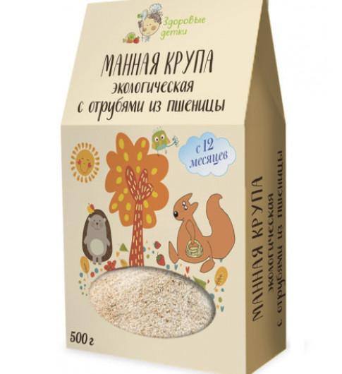 Здоровые детки Манная крупа с отрубями из пшеницы, 12мес+, 500 гр ВАРИТЬ 5 МИНУТ