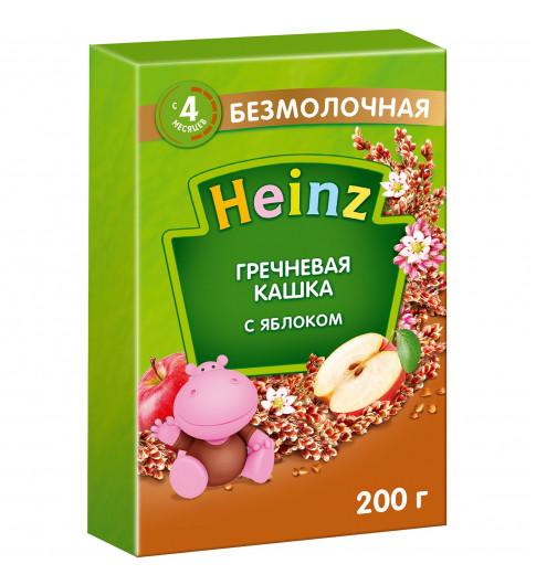 Heinz Каша Гречневая с яблоком С САХАРОМ, безмолочная, 4мес+, 200 гр Хайнц