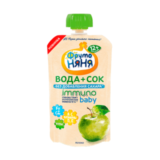 Фрутоняня Напиток Вода+Сок, без сахара, 12 мес — Яблоко