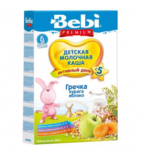 Bebi Premium Каша молочная гречка, курага, яблоко, 5мес+, 200г
