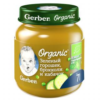 Gerber Зеленый Горошек, Брокколи и Кабачок, 7мес+, 125 гр