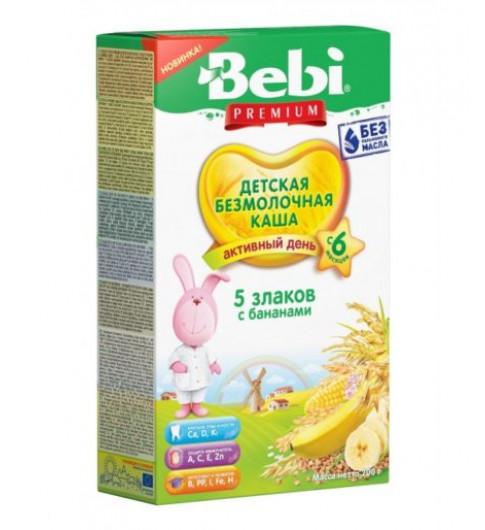 Bebi Premium Каша Безмолочная 5 злаков с бананами, 6мес, 200 гр