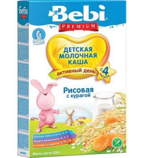 Bebi Premium Каша рисовая с курагой, молочная, 4мес+, 250 гр
