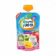 ФрутоНяня Пюре яблоко-манго с йогуртом , 6мес+, 90гр