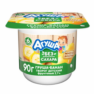 Агуша творог груша. банан, без сахара, 6 мес+, 100 гр до 15 декабря
