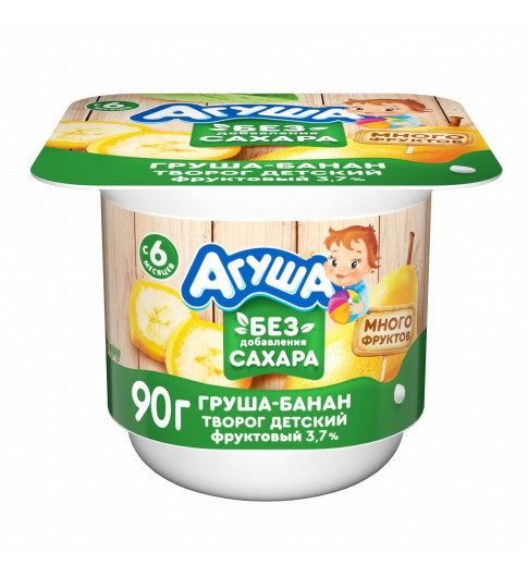 Агуша творог груша. банан, без сахара, 6 мес+, 100 гр ДО 28 ФЕВРАЛЯ
