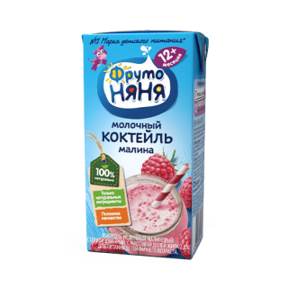 Фрутоняня Коктейль Молочный Малина, 12мес+, 200 гр