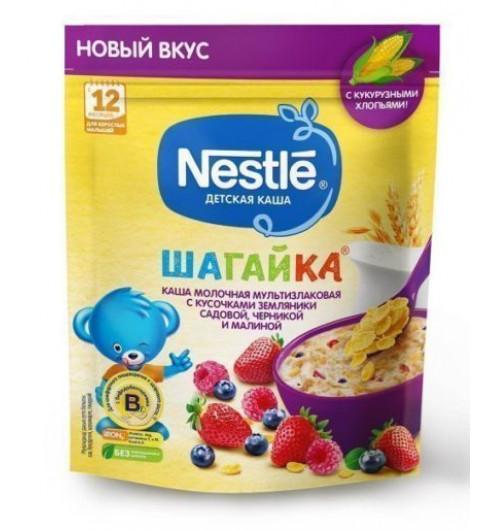 Nestle Каша Шагайка Мультизлаковая с кусочками земляника, черникой и малиной, 12мес+, 190 гр