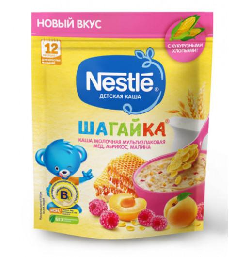Nestle Каша Шагайка Мультизлаковая мед, абрикос, малина, 12мес+, 220гр