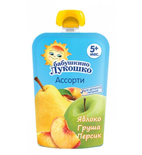 «Бабушкино Лукошко» Пюре Из яблок, груш, персиков, 5мес+, 90 гр