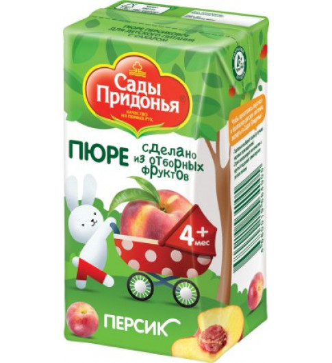 Сады Придонья Пюре Персик, 4мес+, 125 гр - тетрапак