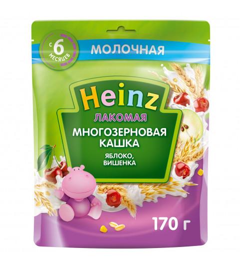 Heinz Каша Лакомая Многозерновая Яблоко Вишенка, молочная, 6мес+, 170 гр хайнц