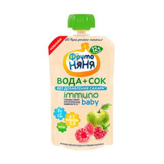 Фрутоняня Напиток Вода+Сок, без сахара, 12 мес — Яблоко, Черноплодная рябина, малина