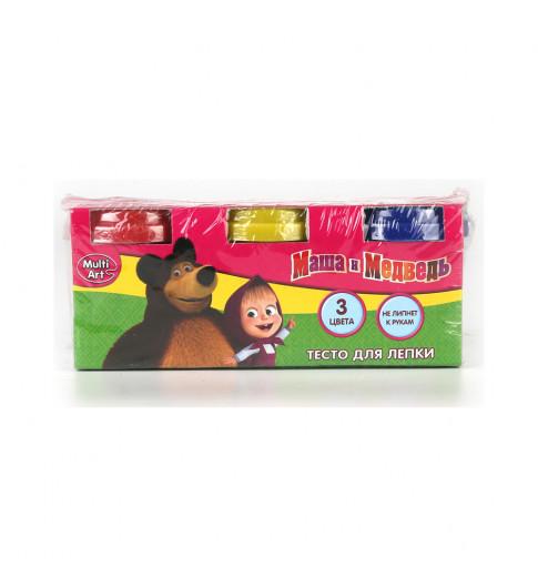 Тесто для лепки 3 цвета по 50г Маша и медведь