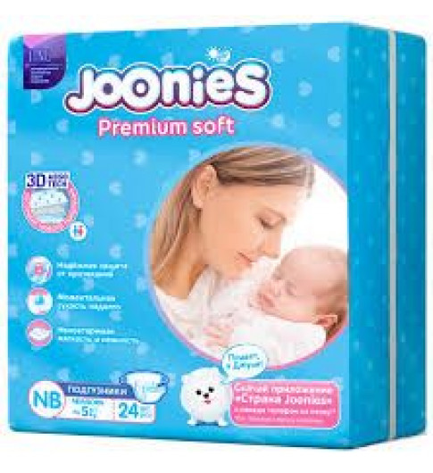 Joonies PremiumSoft Подгузники до 5 кг, 24 шт Джунис