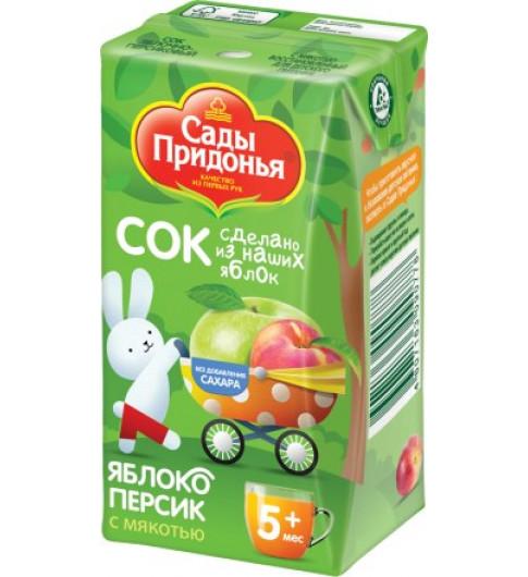 Сады Придонья Сок Яблоко-персик с мякотью. 125 гр, 5мес+ - тетрапак