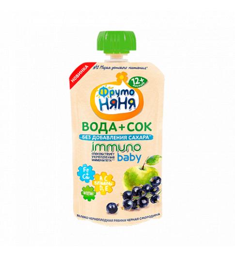 Фрутоняня Напиток Вода+Сок, без сахара, 12 мес — Яблоко, Черноплодная Рябина, Черная Смородина
