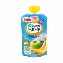 Фрутоняня пюре Яблоко банан с творогом, 6мес+, 90 гр