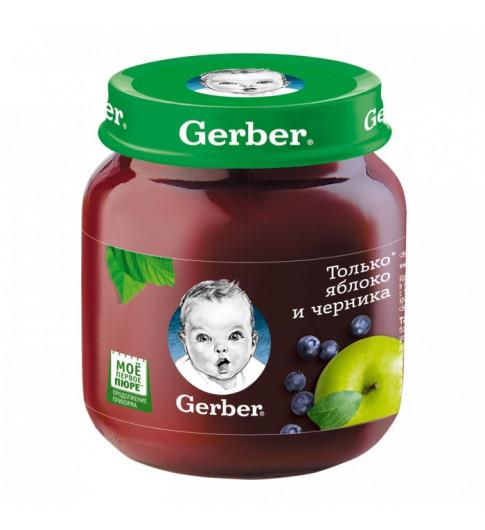 Gerber Пюре Яблоко и Черника, 5мес+, 130 гр