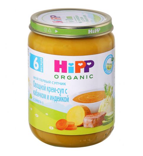 Hipp Крем-суп овощной с кабачком и индейкой, 6мес+, 190г хипп