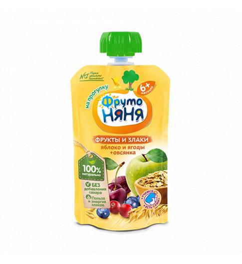 Фрутоняня Яблоко, ягоды, овсяные хлопья, 6мес+, 130 гр