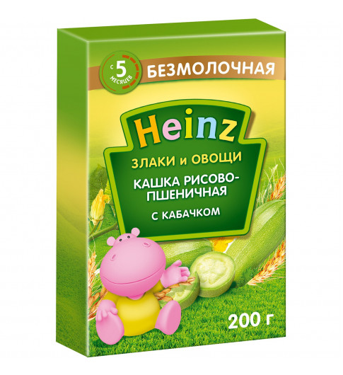 Heinz Каша Рисово-пшеничная с кабачками С САХАРОМ безмолочная, 6мес+, 200 гр Хайнц