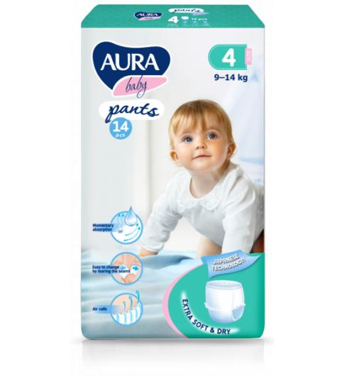 Aura Подгузники-трусики, 4-ка 9-14 кг, 43 шт