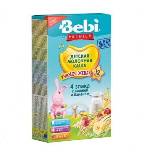 Bebi Junior 4 злака с вишней и бананом, молочная, 12мес+, 200гр