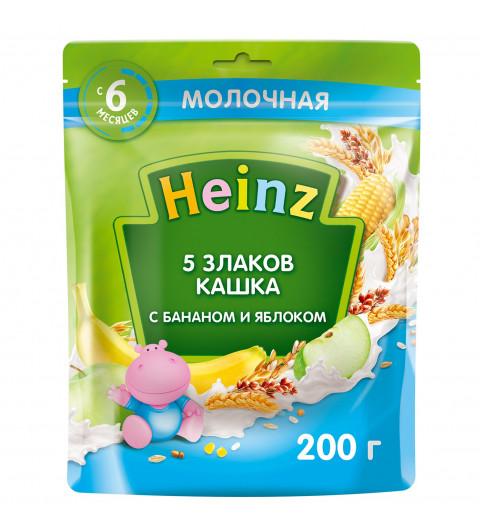 Heinz Каша 5 злаков с молоком с бананом и яблоком, 6мес+, 200 гр хайнц