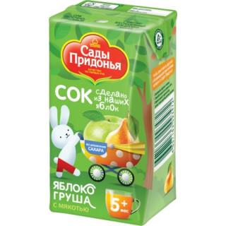 Сады Придонья Сок Яблоко-груша с мякотью. 125 гр, 5мес+ - тетрапак