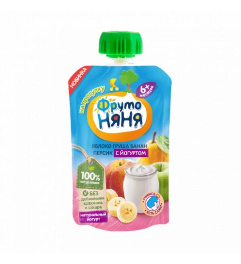 ФрутоНяня Пюре яблоко-груша-банан-персик с йогуртом, 6мес+, 90 гр