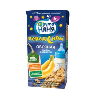 Фрутоняня Жидкая Кашка Овсяная с Бананом», молочная, 6мес+, 200мл