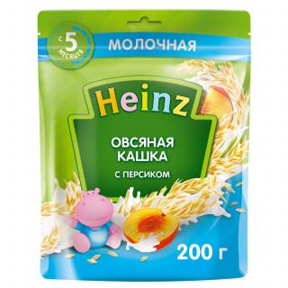 Heinz Каша Овсяная  с молоком и  персиком, 5мес+, 200 гр