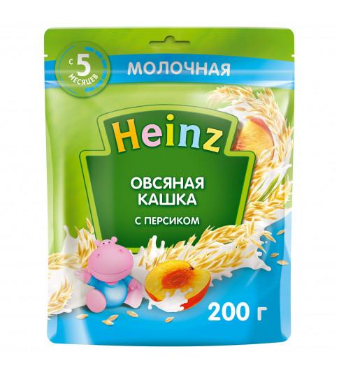 Heinz Каша Овсяная  с молоком и  персиком, 5мес+, 200 гр хайнц