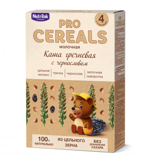 Nutrilak Premium Гречневая с Черносливом с молоком, Цельнозерновая, 4мес+, 200 гр БЕЗ САХАРА