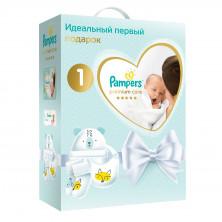 Pampers (Памперс) Подгузники Premium Care Newborn Эконом упаковка 2-5кг 72шт+салфетки влажные Sensitive 12шт+носочки+шапочка+нагрудник