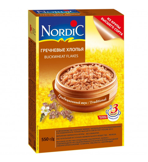 Nordic Хлопья Гречневые, 550гр Нордик