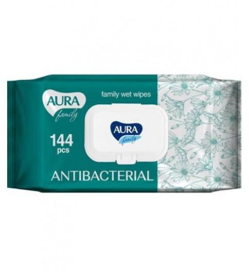 Aura FAMILY влажные салфетки, антибактериальные с Ромашкой, 144 шт