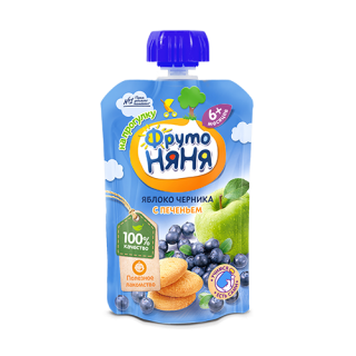 ФрутоНяня Пюре Яблоко-черника-печенье, 6мес+, 90гр