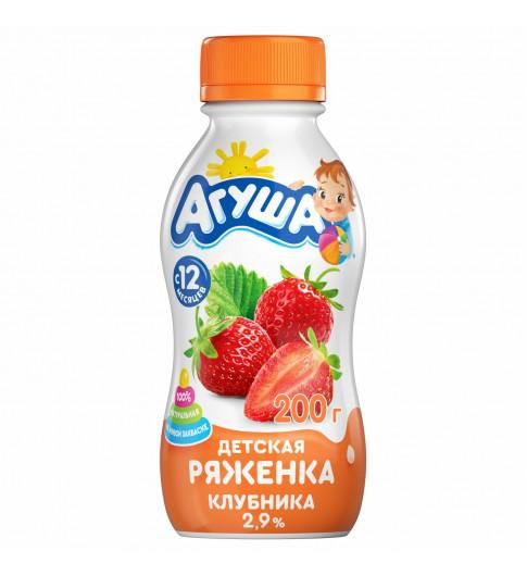 Агуша Детская Ряженка Клубника, 12мес+, 200 гр