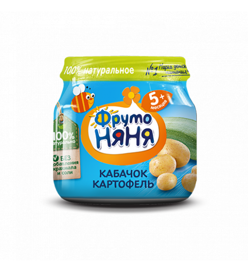 Фрутоняня Пюре Кабачок с картофелем, 5мес+, 80гр